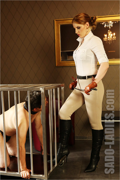 Inspecting on her caged up human pony