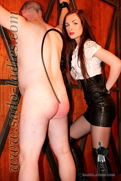Lazy slave shall learn his lesson through Mistress Lena's whip