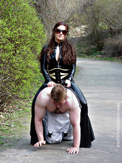 Long way home for the pony slave ridden on by Mistress