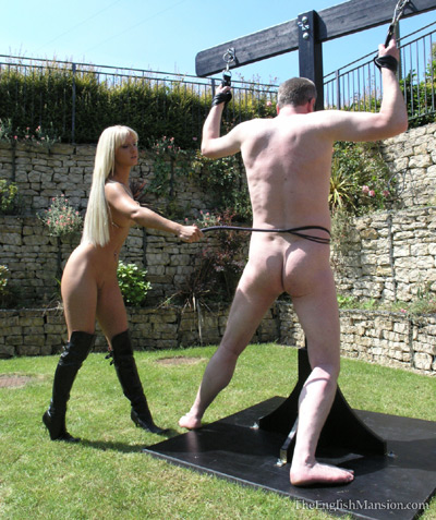 Merciless whipping by Mistress Vixen under the sun<br />