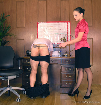 Spanking wand punishment at the office