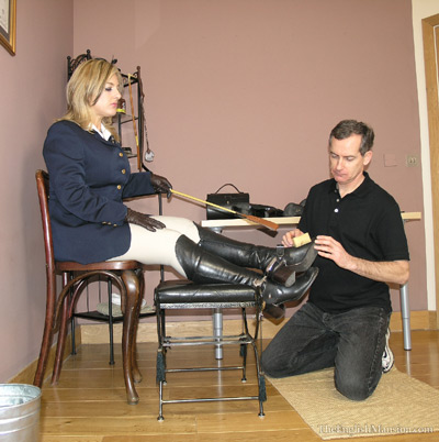 Nina Birch gives a lesson on boot polishing