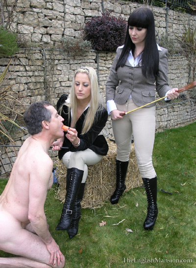 Riding Mistresses feeding their pony before usage