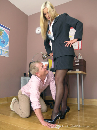 Lowly cleaning guy humiliated by his Lady Boss