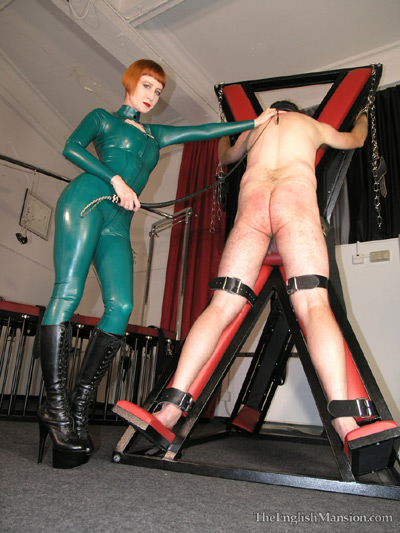 Collared up and bull whipped by Dominatrix