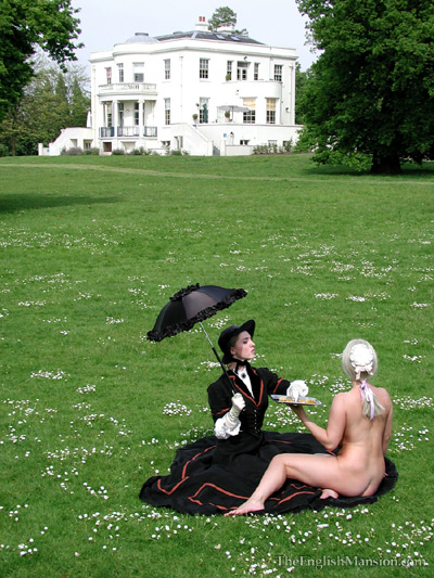 Victorian Lady served by her naked maid