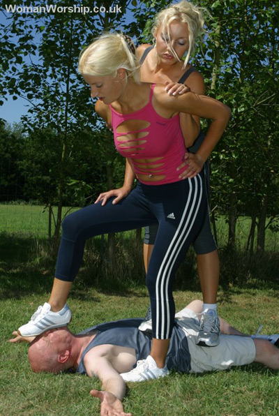 Outdoor carpet for 2 blonde Mistresses